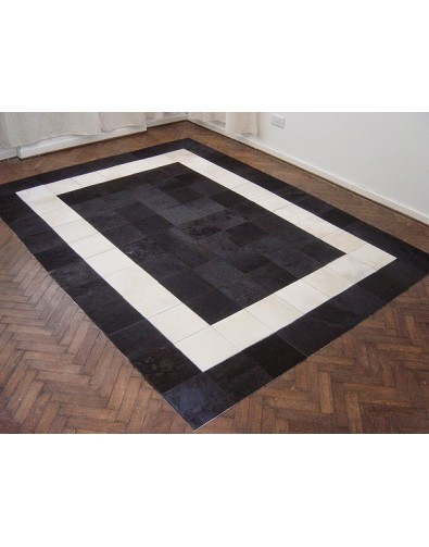 White and Black Patchwork Cowhide Rug 508