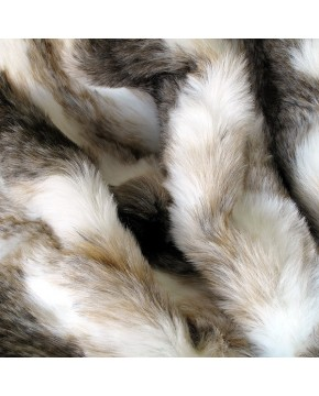 Italian Wolf striped faux fur throw close up