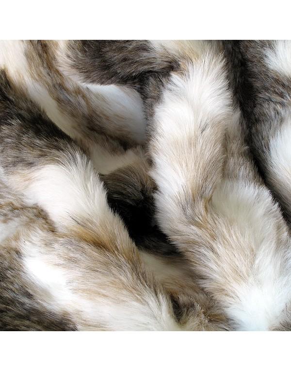 Italian Wolf striped faux fur throw close up