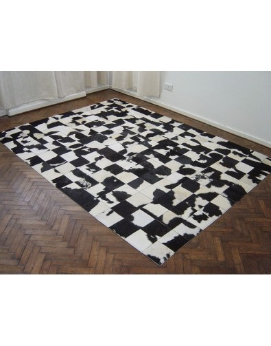Black and White Patchwork Cowhide Rug 447