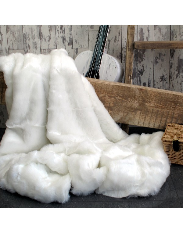 Faux Fur Throws, White Polar Bear Faux Fur Throw , faux-fur-throws