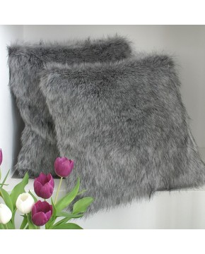 Grey Squirrel Faux Fur Cushion