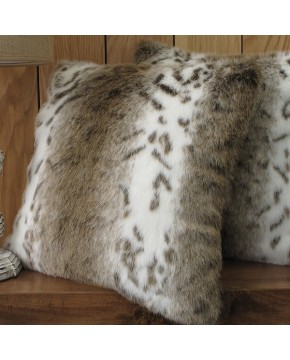 Beige Lynx Faux Fur Cushion