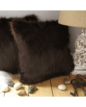 Faux Fur Cushions, Brown Bear Faux Fur Cushion , faux-fur-throws