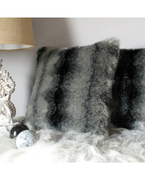 Faux Fur Cushions, Black Wolf Faux Fur Cushion , faux-fur-throws