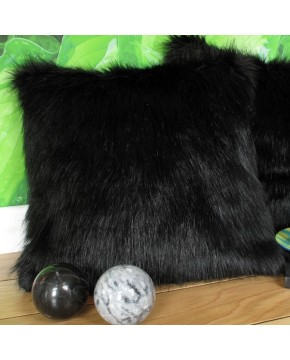 Faux Fur Cushions, Black Bear Faux Fur Cushion , faux-fur-throws