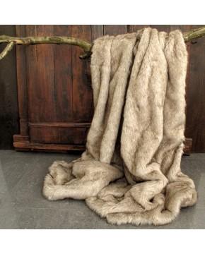 Tundra Wolf Faux Fur Throw