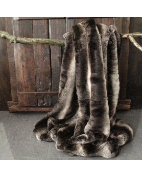 Dark Chinchilla Faux Fur Throw