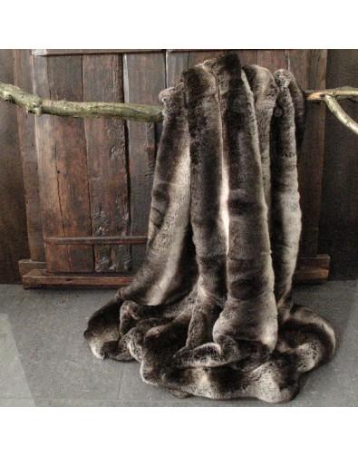 Dark Chinchilla Faux Fur Throw