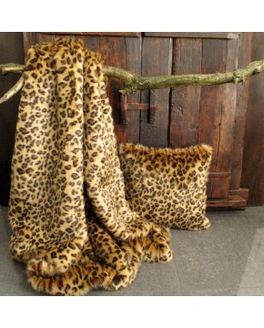 Faux fur throw Golden Leopard fake fur blanket