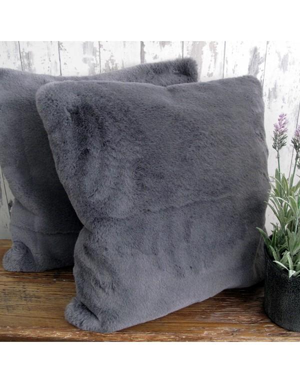 Richmond Slate Faux Fur Cushion