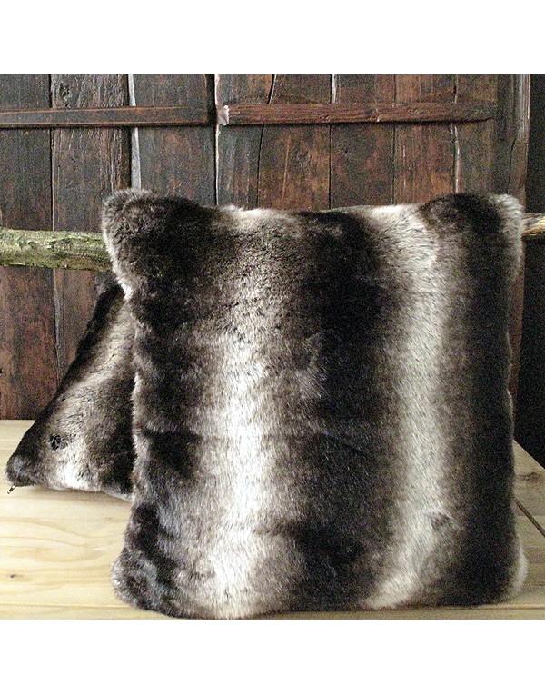 Dark Chinchilla Faux Fur Cushion