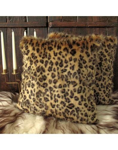 Golden Leopard Faux Fur Cushion