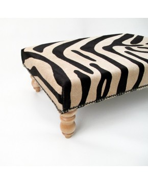 Cowhide Footstools, Large Brown Zebra Cowhide Footstool 201
