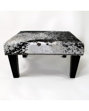 Cowhide Footstool, black speckled medium sized cowhide stool with black tapered legs
