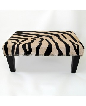 Brown Zebra and sand coloured cowhide footstool size large 205 with black legs