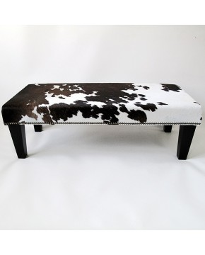 Cowhide Footstool 215. Extra large dark brown and ivory white footstool.