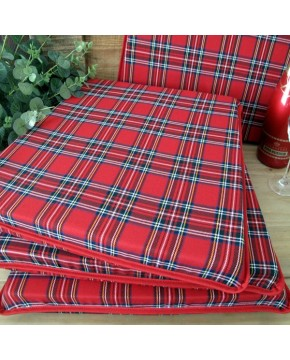 Red Tartan Tapered Seat Pads