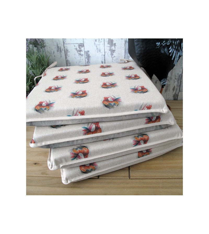 Small Roosters reversible square seat pads