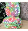 Tropical Leaves chair pads in classic D shape