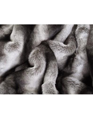 Faux Chinchilla Fur Throw Silver Brown