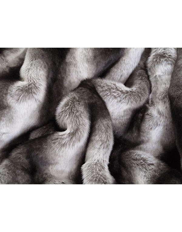 Silver Brown Chinchilla Fur Throw