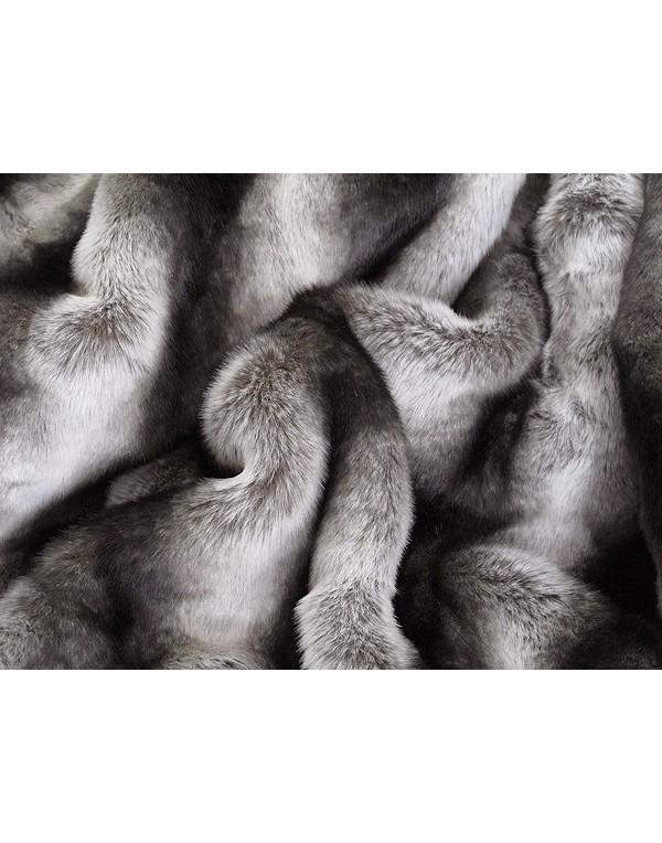Silver Brown Chinchilla Fur Throw