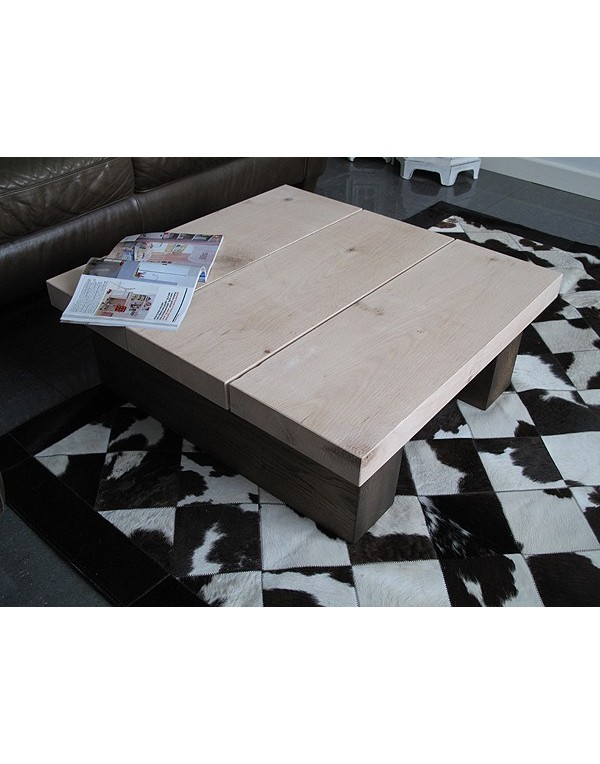 Square Solid Two Tone Oak 3 board Coffee Table