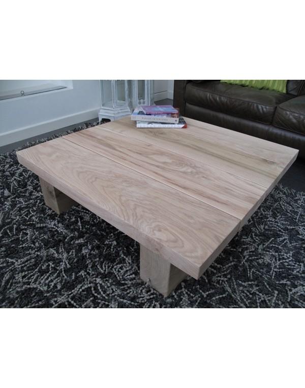 Square Solid Light Oak 4 board Coffee Table