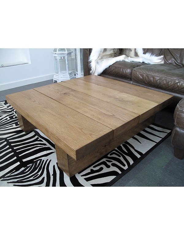 Square Solid Medium Oak 4 board Coffee Table