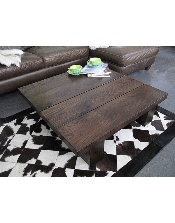 Solid Dark Oak 4 Board Square Coffee Table Dark Oak Coffee Table