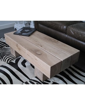 3 Beam Solid Light Oak Coffee Table