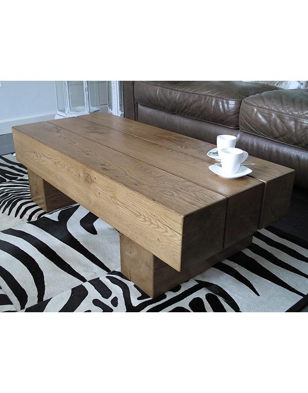 3 Beam Solid Medium Oak Coffee Table