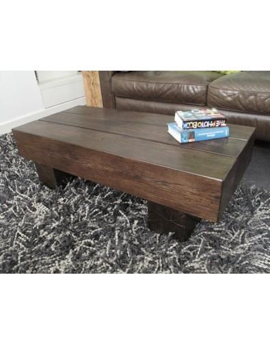Dark Solid Oak 3 Beam Coffee Table