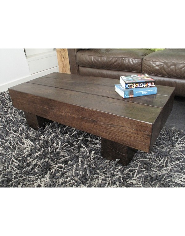 3 Beam Dark Solid Oak Coffee Table