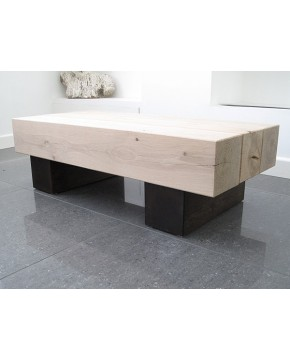 3 Beam Two Tone Solid Oak Coffee Table
