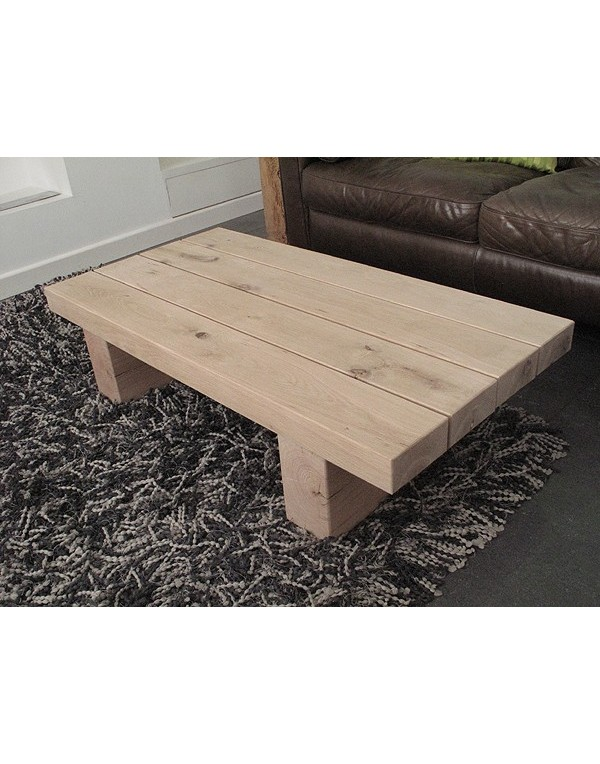 Slim 4 Beam Solid Light Oak Coffee Table