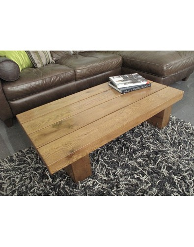 Slim 4 Beam Solid Medium Oak Coffee Table