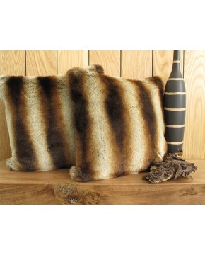 Gold Brown Chinchilla Faux Fur Cushion