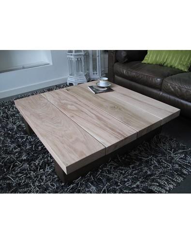 Solid Two Tone Oak 4 board Square Coffee Table