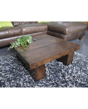 Oak Coffee Tables, Square Solid Dark Oak 3 board Coffee Table , faux-fur-throws