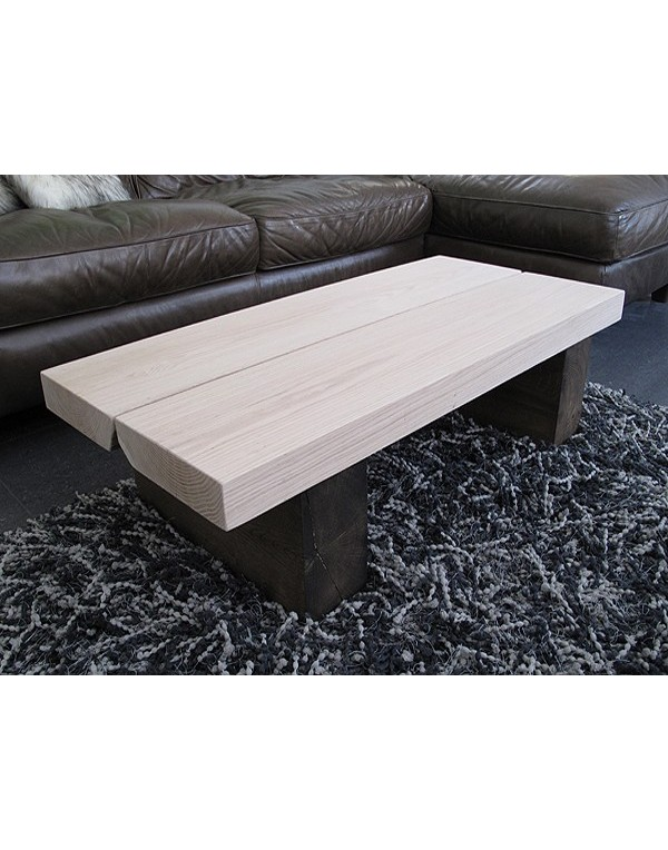 Two Tone Solid Oak Rectangular Coffee Table 2 Board Handmade Table