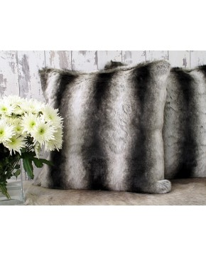 Silver Brown Chinchilla Faux Fur Cushion