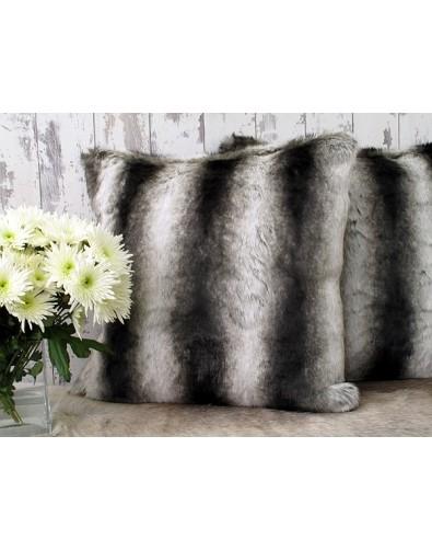 Faux Fur Cushions, Silver Brown Chinchilla Faux Fur Cushion , faux-fur-throws