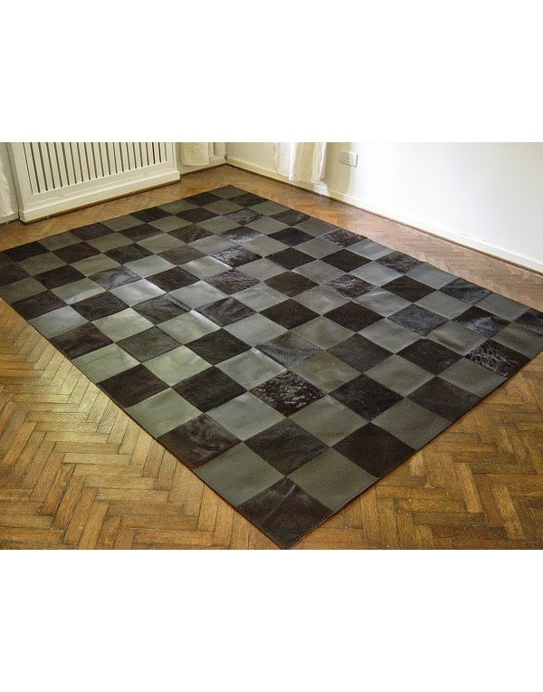 Black Cowhide & Leather Patchwork Rug 449