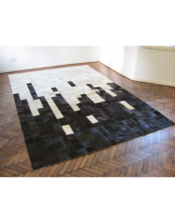 Cowhide patchwork rugs white