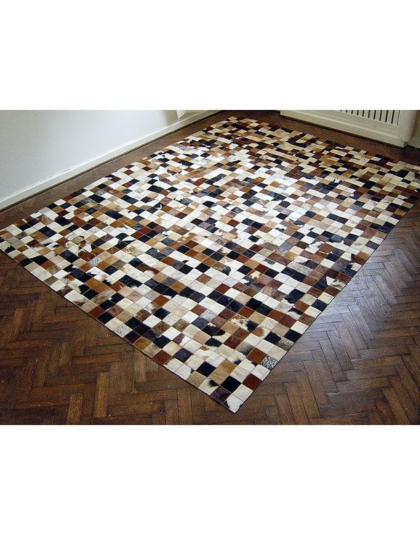 Small Squares Patchwork Cowhide Rug 515