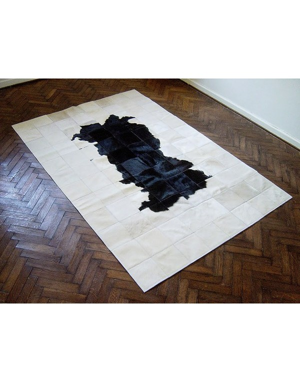 Black White Patchwork Cowhide Rug 511