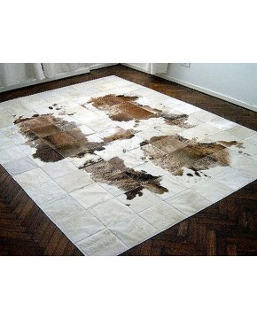 White Brown Patchwork Cowhide Rug 491