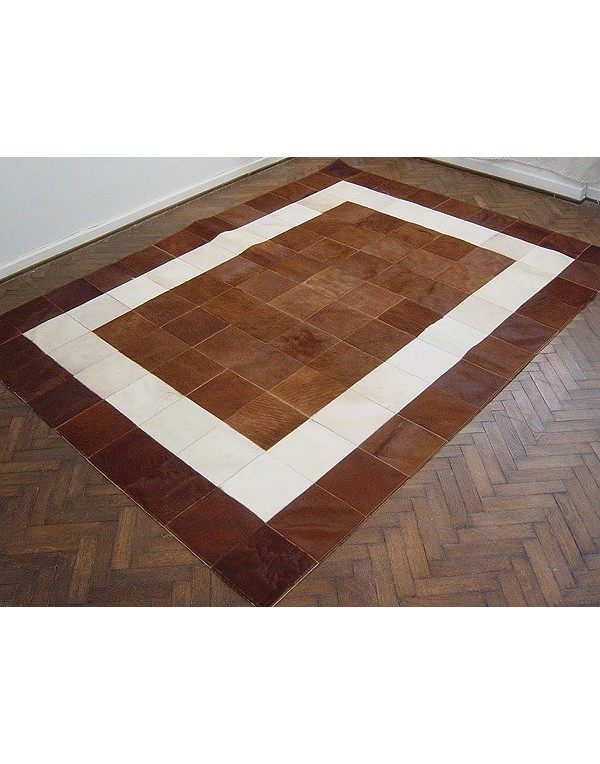White Brown Patchwork Cowhide Rug 526